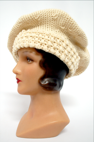 Finished Project Free Pattern 1920 Crocheted Tam Wearing