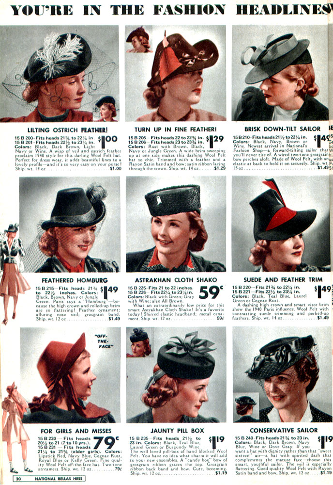 Catalog Inspiration  In Fashion Headlines with Hats- 1939-1940 ... 9998cd03e19
