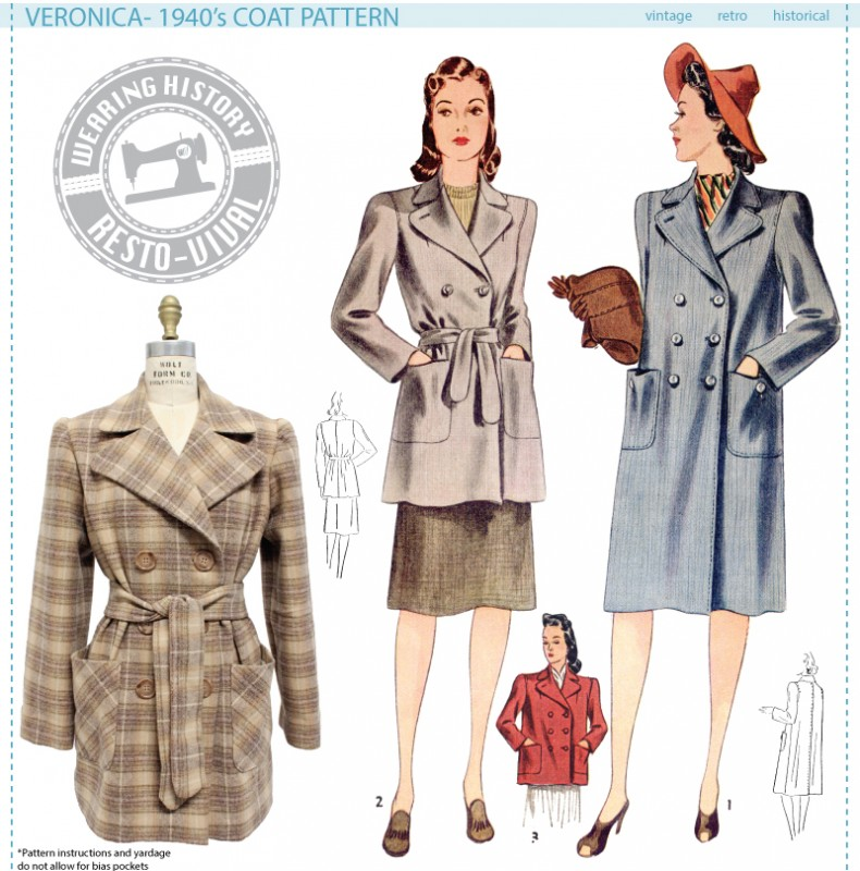 New sewing pattern! Veronica 1940\'s Coat – Wearing History® Blog
